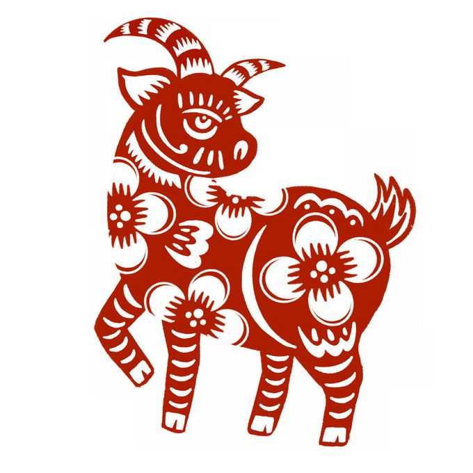 羊年山羊图案新年春节红色剪纸3369390免抠图片素材