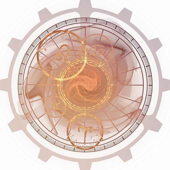 金色发光效果星盘占星术命运之轮图案8130103免抠图片素材