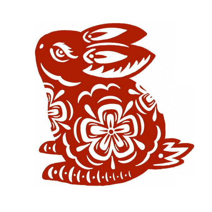 兔年卡通兔子图案新年春节红色剪纸1146755免抠图片素材