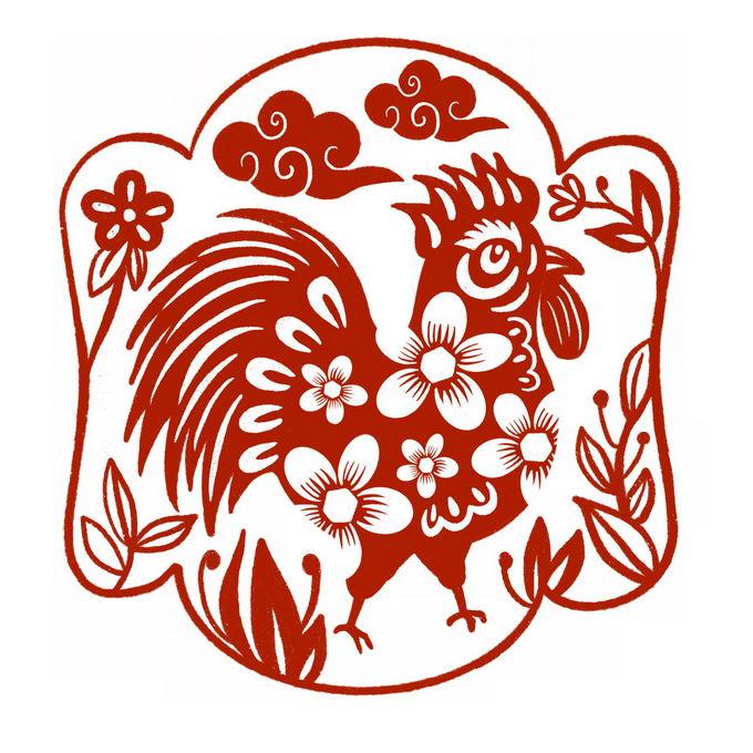 鸡年卡通公鸡图案新年春节红色剪纸8461705免抠图片素材