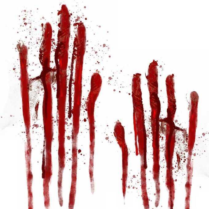 两个血淋淋的血掌印恐怖元素9179084免抠图片素材