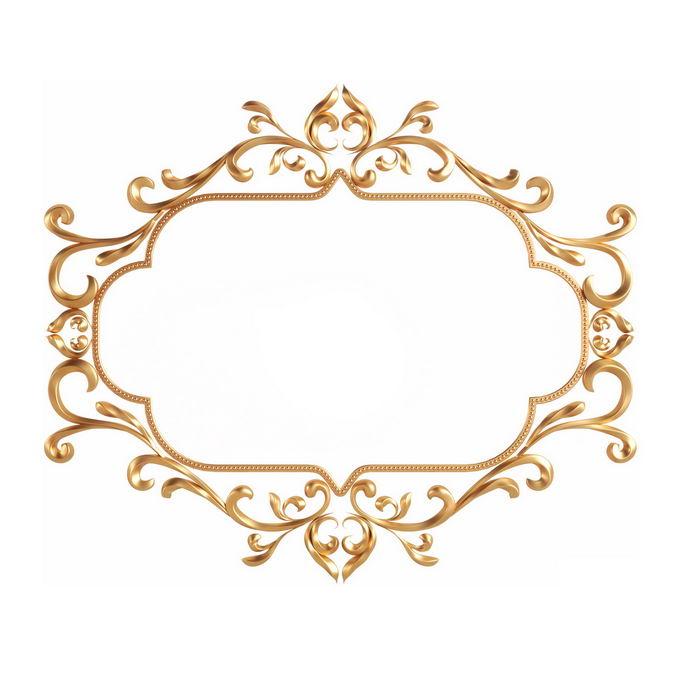 3D立体风格金色欧式图案组成的边框镜框装饰2936150免抠图片素材