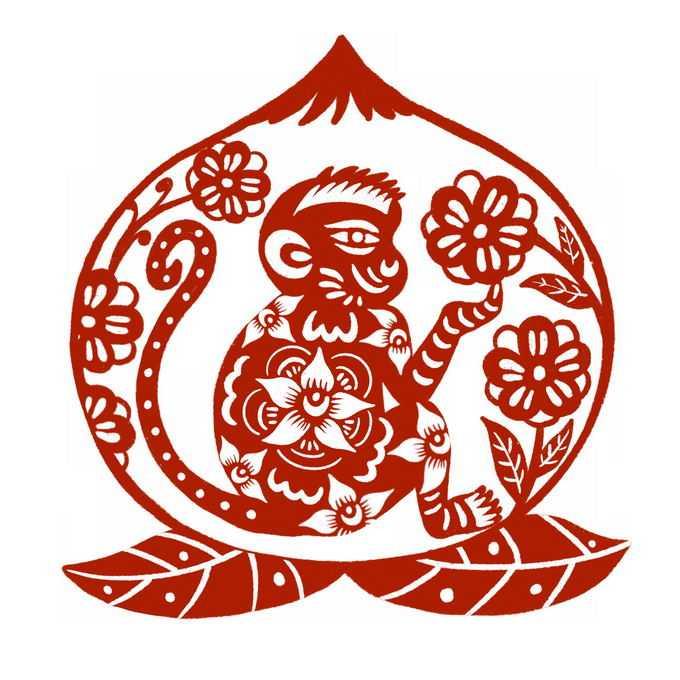 猴年猴子和仙桃图案新年春节红色剪纸6697956免抠图片素材