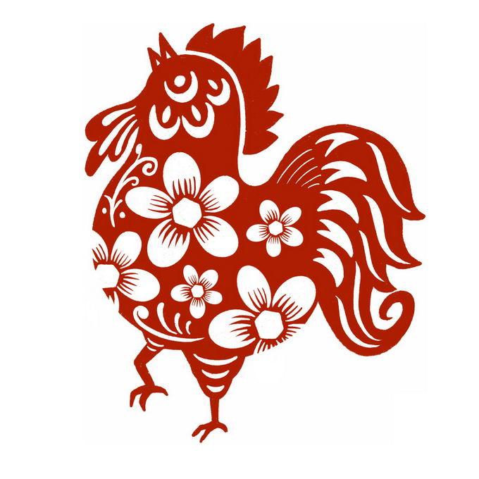 鸡年公鸡图案新年春节红色剪纸9446476免抠图片素材