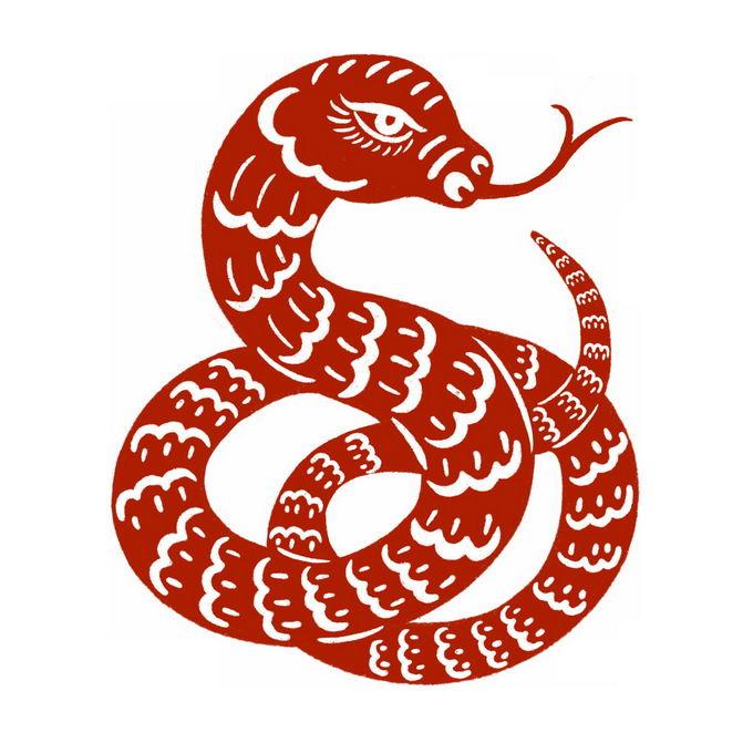 蛇年长蛇图案新年春节红色剪纸9385946免抠图片素材