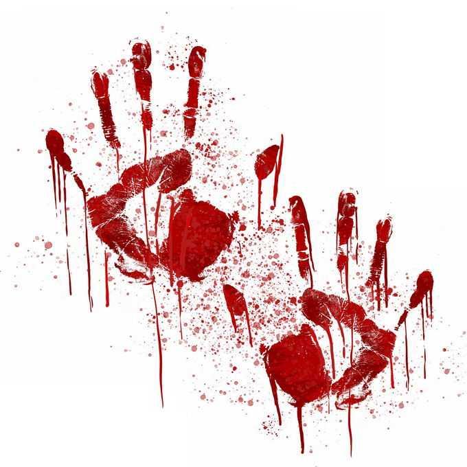 两个血淋淋的血掌印恐怖元素8554302免抠图片素材