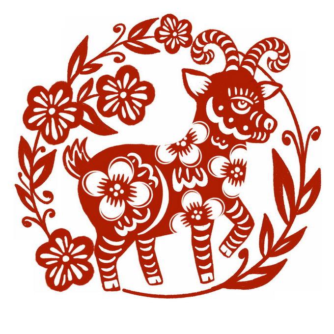 羊年小羊图案新年春节红色剪纸4546088免抠图片素材