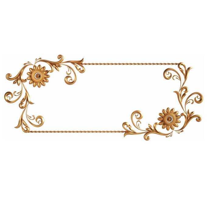 3D立体金色欧式花纹边框8839601免抠图片素材