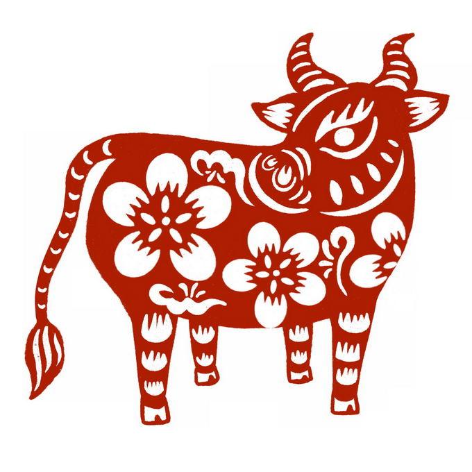 牛年公牛图案新年春节红色剪纸8971329免抠图片素材