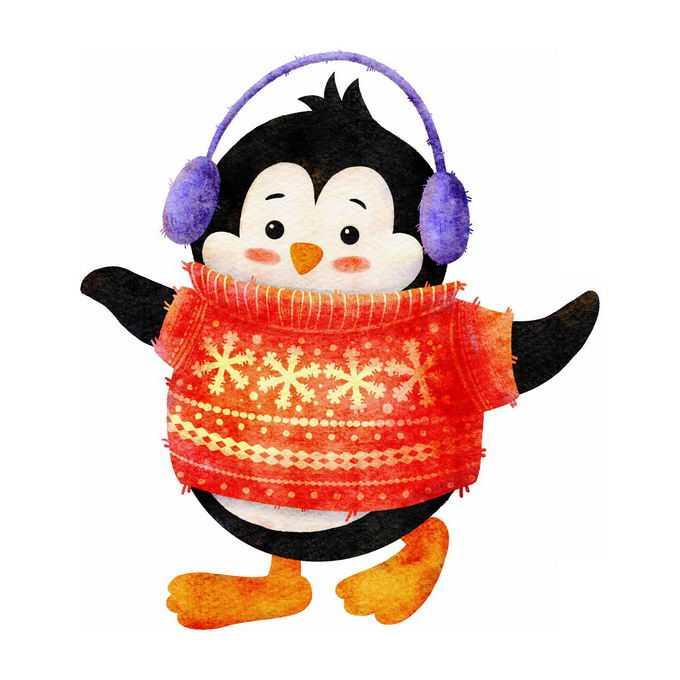冬天穿着毛线衣的卡通企鹅2954980免抠图片素材