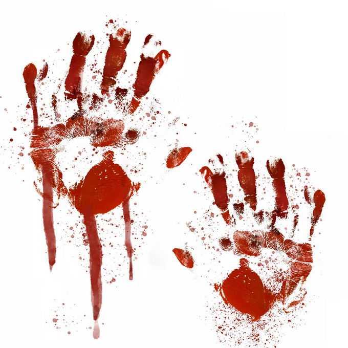 两个血淋淋的血掌印恐怖元素3270456免抠图片素材