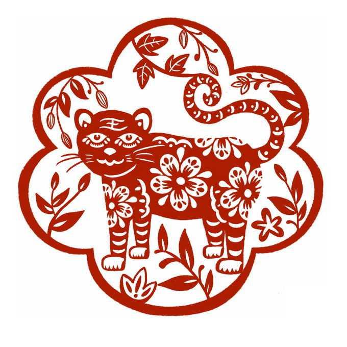 虎年老虎图案新年春节红色剪纸6404861免抠图片素材