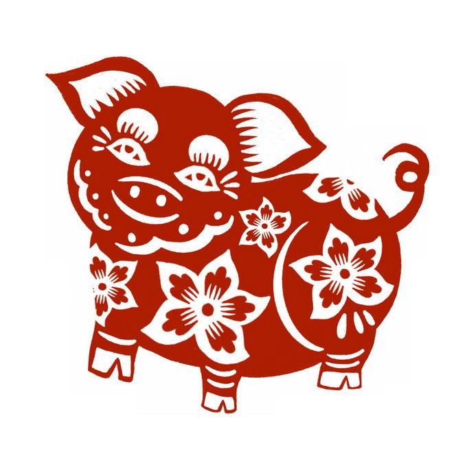猪年小猪图案新年春节红色剪纸4033533免抠图片素材