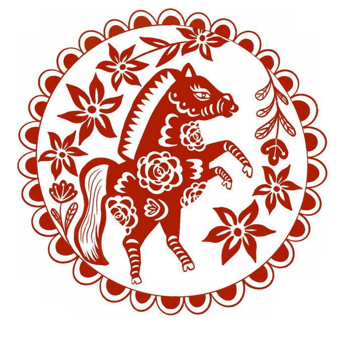 马年小马图案新年春节红色剪纸6141891免抠图片素材