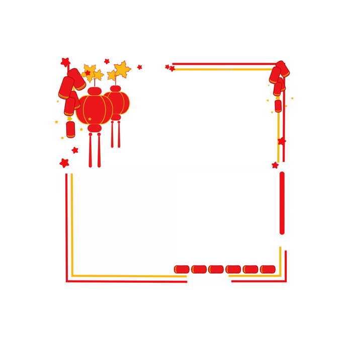 红色灯笼鞭炮装饰的新年春节边框9682946免抠图片素材
