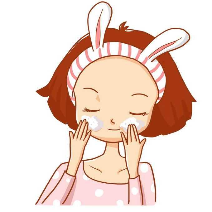 可爱卡通女孩护肤按摩脸部7548510免抠图片素材