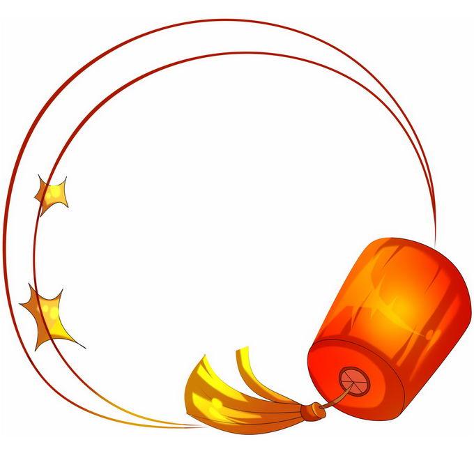 卡通红色灯笼手绘边框4536815免抠图片素材