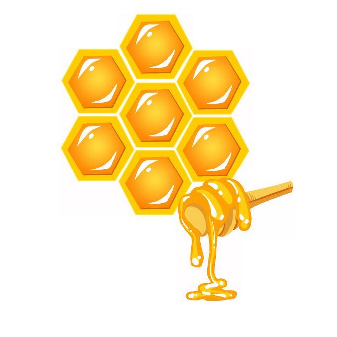 金黄色的蜂蜜和蜂窝图案4965731免抠图片素材
