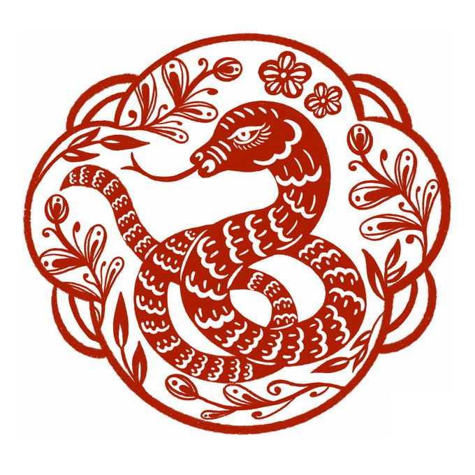 蛇年小蛇图案新年春节红色剪纸2556666免抠图片素材