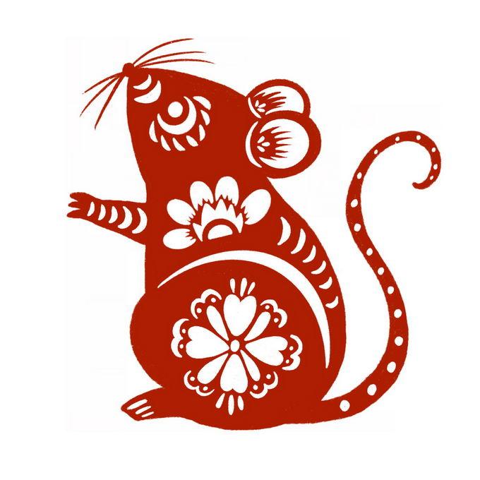 鼠年小老鼠图案新年春节红色剪纸5548140免抠图片素材