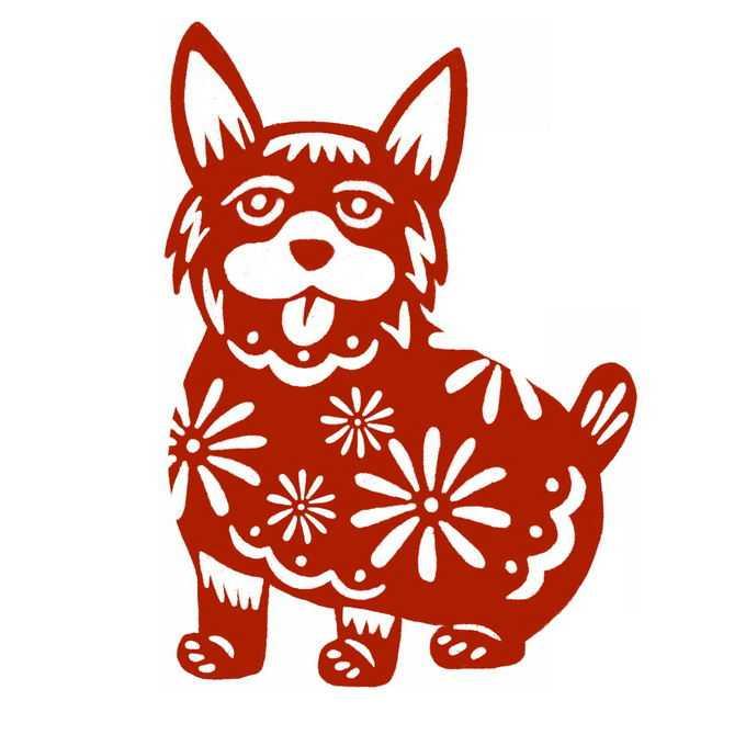 狗年小狗图案新年春节红色剪纸6816433免抠图片素材