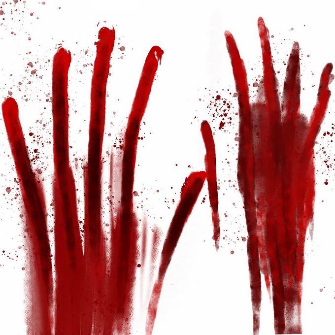 两个血淋淋的血掌印恐怖元素8792713免抠图片素材