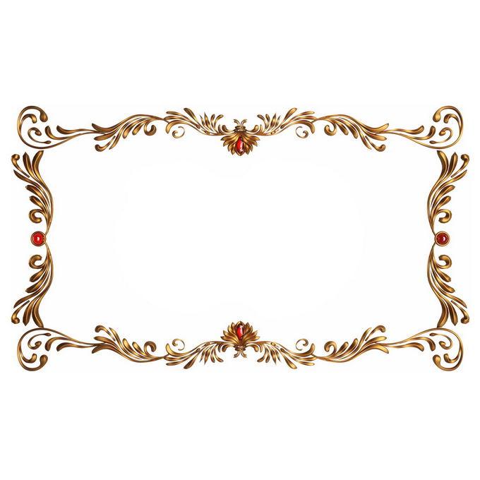 3D立体金色欧式花纹边框2309355免抠图片素材