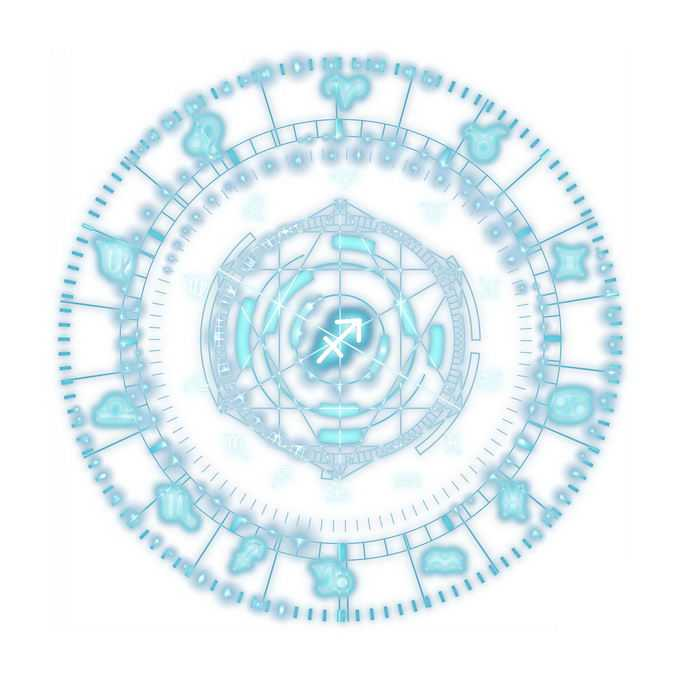 发光蓝色星盘占星术命运之轮图案3059725免抠图片素材