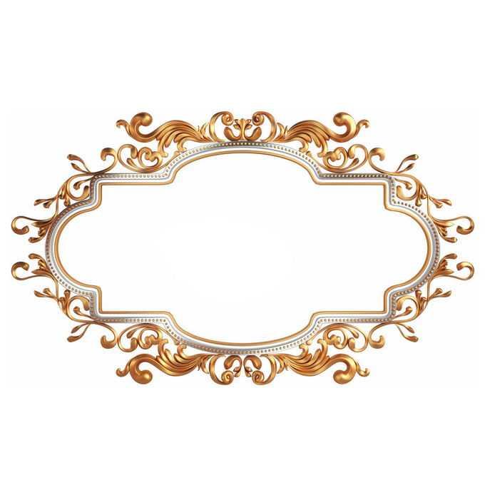 3D立体金色欧式花纹边框7455667免抠图片素材