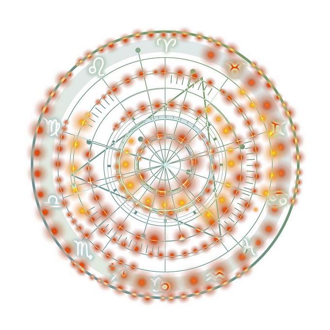 发光黄色蓝色星盘占星术命运之轮图案6112135免抠图片素材