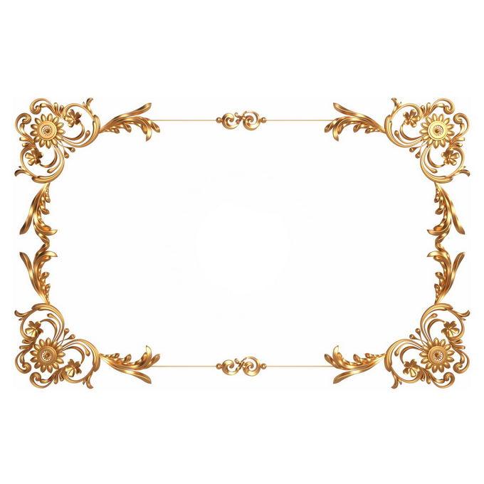 3D立体金色欧式花纹边框8661303免抠图片素材