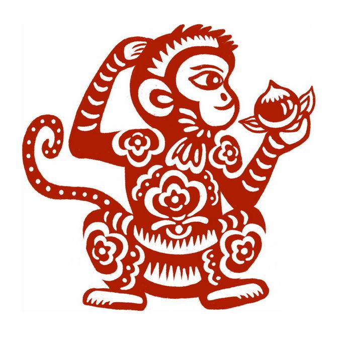 猴年拿着仙桃的小猴子图案新年春节红色剪纸7321149免抠图片素材