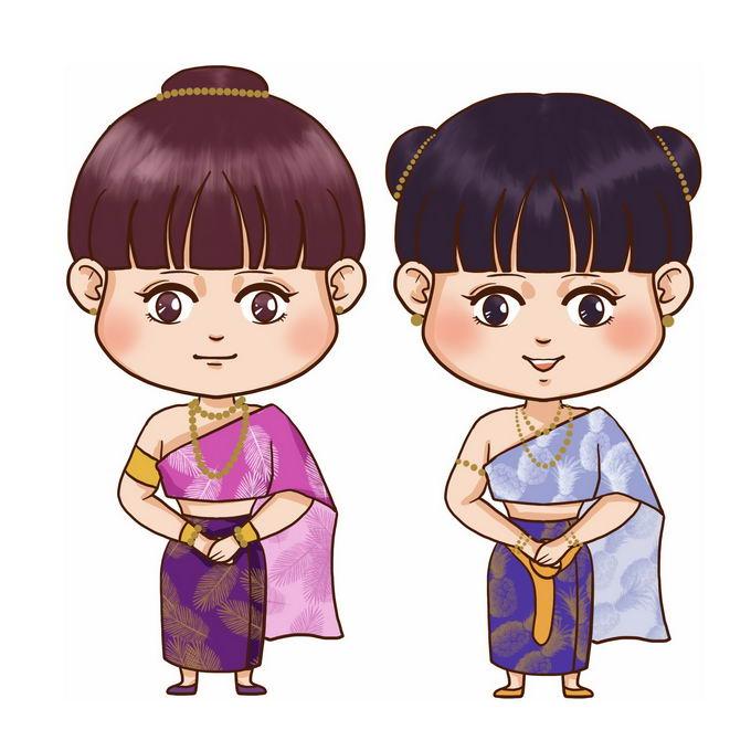 萨瓦迪卡卡通傣族女孩少数民族卡通人物2659445免抠图片素材