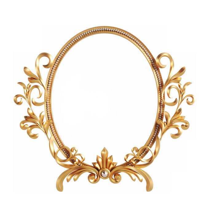 3D立体风格金色欧式图案组成的椭圆形边框镜框装饰6209181免抠图片素材