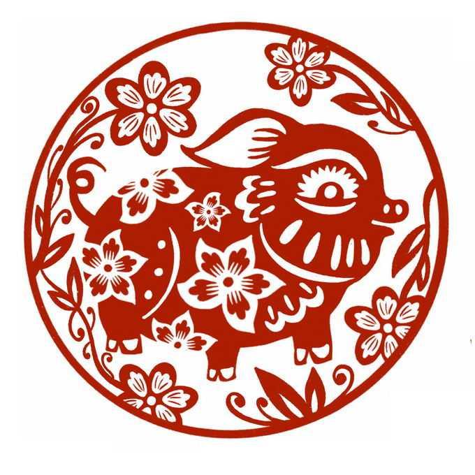 猪年卡通小猪图案新年春节红色剪纸9835128免抠图片素材