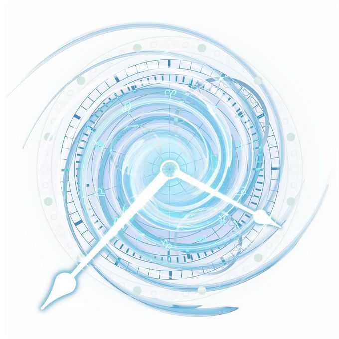 蓝色漩涡时钟星盘占星术命运之轮图案6968147免抠图片素材