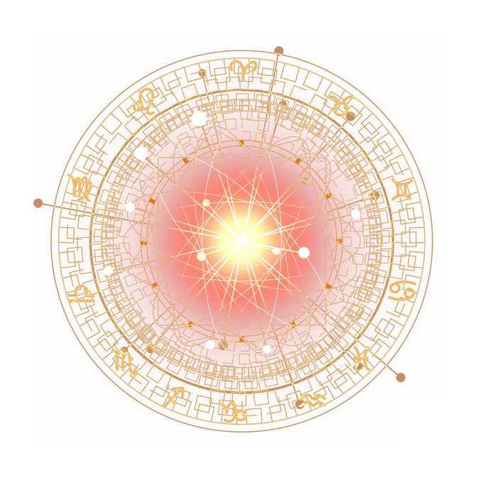 金色发光效果星盘占星术命运之轮图案8105515免抠图片素材