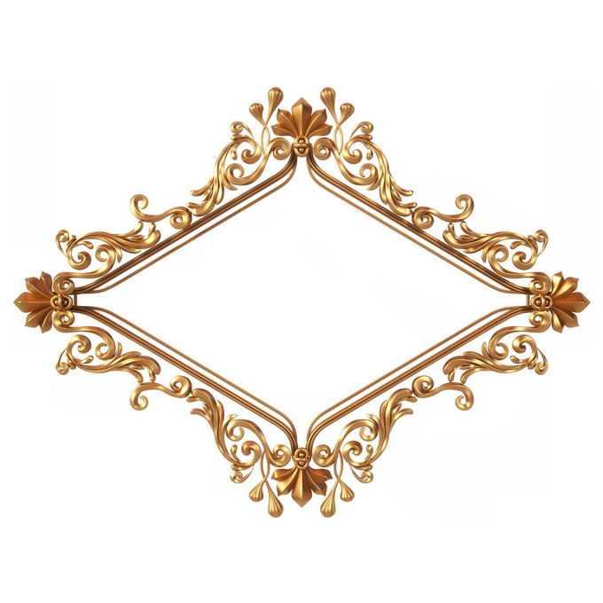 3D立体风格金色欧式图案组成的菱形边框装饰5006570免抠图片素材