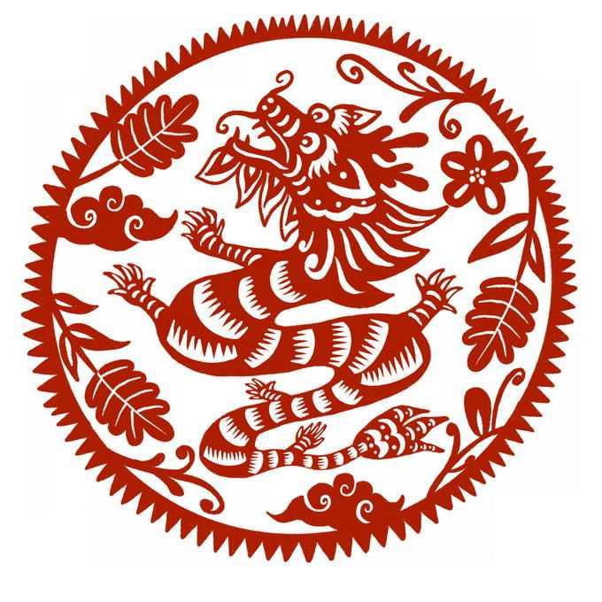 龙年中国龙图案新年春节红色剪纸2443139免抠图片素材