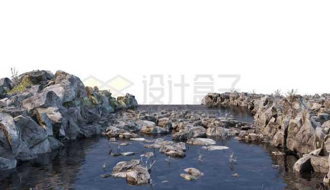 枯水期小河小溪中露出的石头以及两岸的乱石堆5285130PSD免抠图片素材