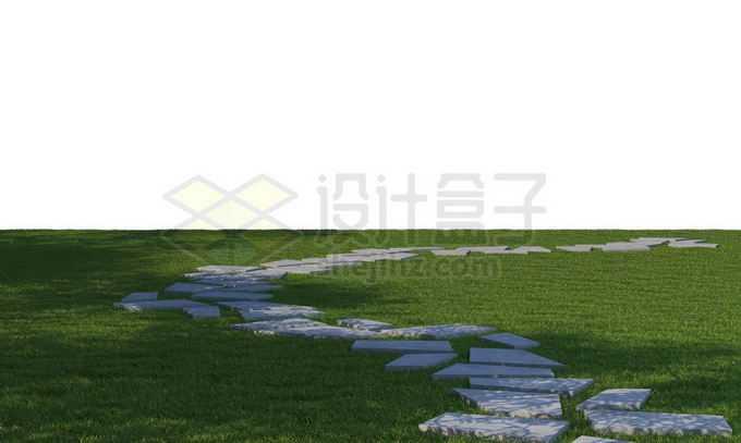 草坪上弯弯曲曲的碎石路面1369549PSD免抠图片素材