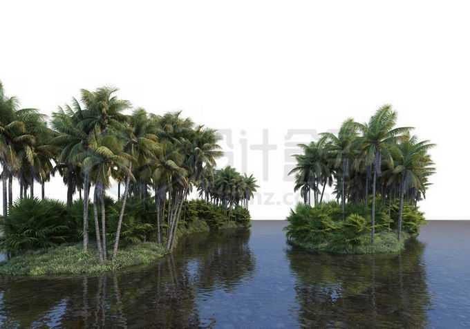 湖心小岛上生长着椰子树林热带雨林风景2508630PSD免抠图片素材