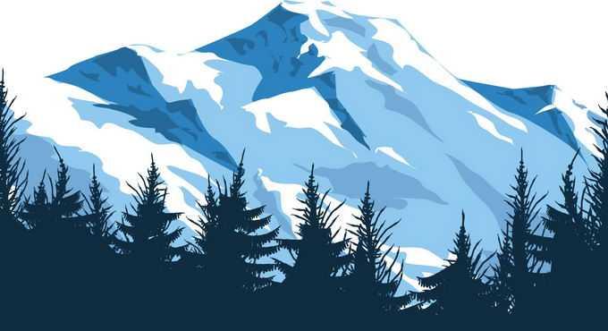 近处的森林剪影和远处的大雪山高大山脉1682625png免抠图片素材