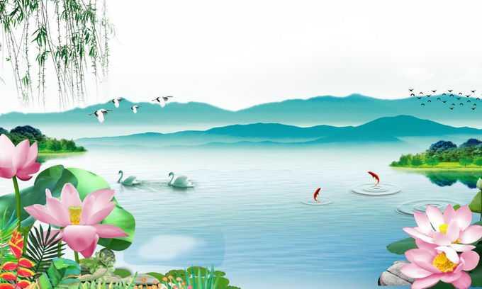 远处的群山和近处池塘中的天鹅鱼儿以及荷花中国风插画5603021png免抠图片素材