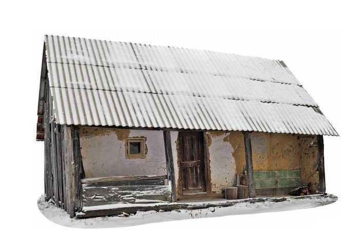 冬天厚厚积雪覆盖的破旧房子8357468png免抠图片素材