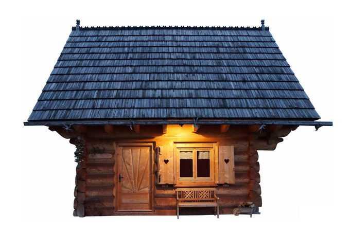 夜幕降临后走廊上亮灯的小木屋1033208png免抠图片素材