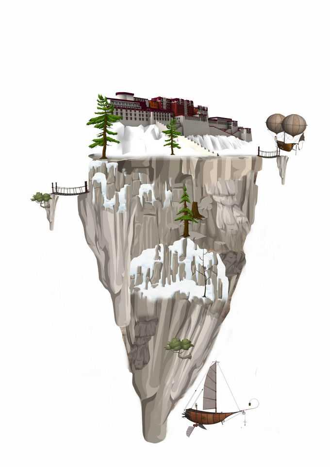 悬空岛上的布达拉宫风景6848239png免抠图片素材
