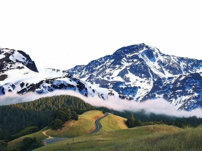 近处的大草原森林和远处的雪山6412134png免抠图片素材