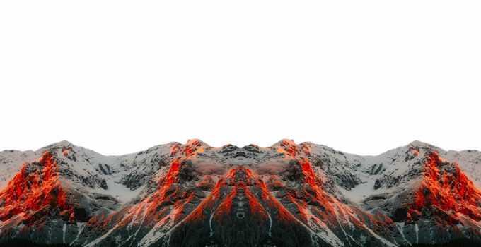 夕阳照射下火红的大雪山高山6941051png免抠图片素材