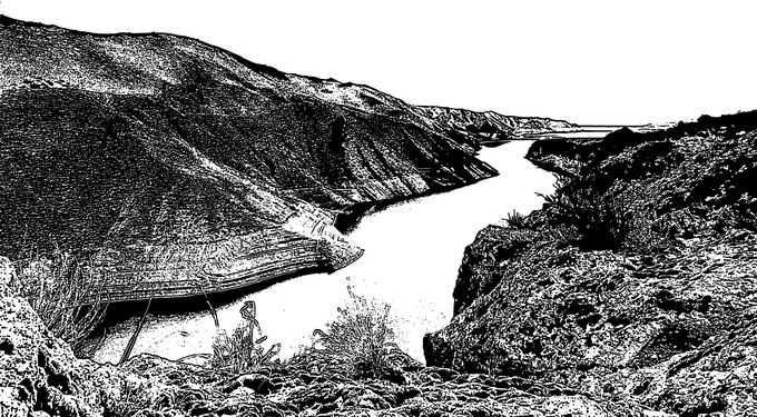 山谷峡谷中的河流黑白插画3447337png免抠图片素材